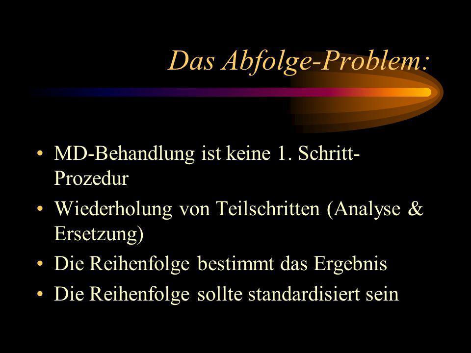 Konsequenzen MD-Probleme werden individuell gelöst Das Vorgehen ist meist weder einheitlich noch dokumentiert Keine Analyse der MD Pragmatische Lösung nach den Möglichkeiten der Software