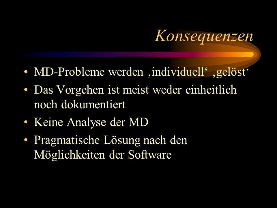 Zusammenfassung der MD- Problematik Es fehlt ein Leitfaden, wie mit MD umgegangen werden soll.