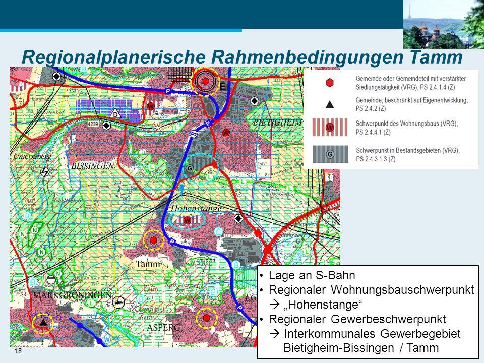 18 Regionalplanerische Rahmenbedingungen Tamm Lage an S-Bahn Regionaler Wohnungsbauschwerpunkt Hohenstange Regionaler Gewerbeschwerpunkt Interkommunal