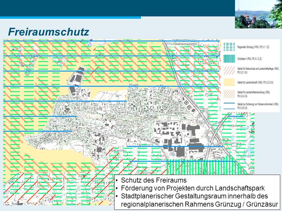 19 Freiraumschutz Schutz des Freiraums Förderung von Projekten durch Landschaftspark Stadtplanerischer Gestaltungsraum innerhalb des regionalplanerisc