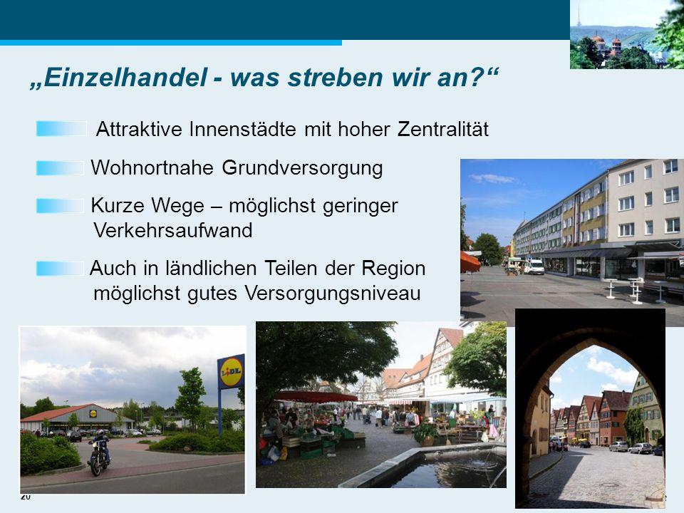 20 Einzelhandel - was streben wir an? Attraktive Innenstädte mit hoher Zentralität Wohnortnahe Grundversorgung Kurze Wege – möglichst geringer Verkehr