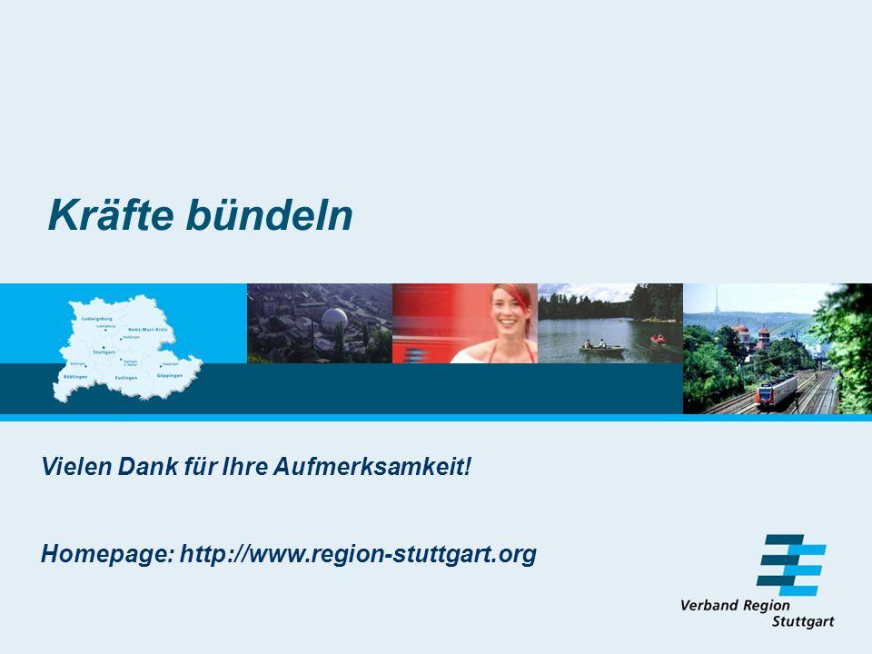 Kräfte bündeln Vielen Dank für Ihre Aufmerksamkeit! Homepage: http://www.region-stuttgart.org