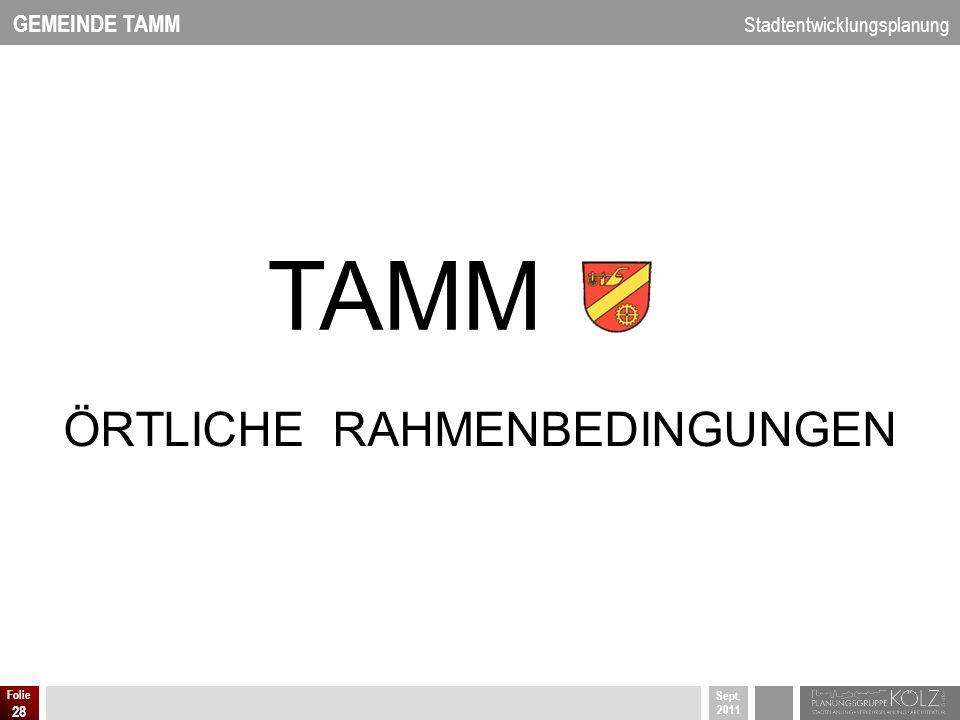 GEMEINDE TAMM Stadtentwicklungsplanung Sept. 2011 Folie 28 ÖRTLICHE RAHMENBEDINGUNGEN TAMM