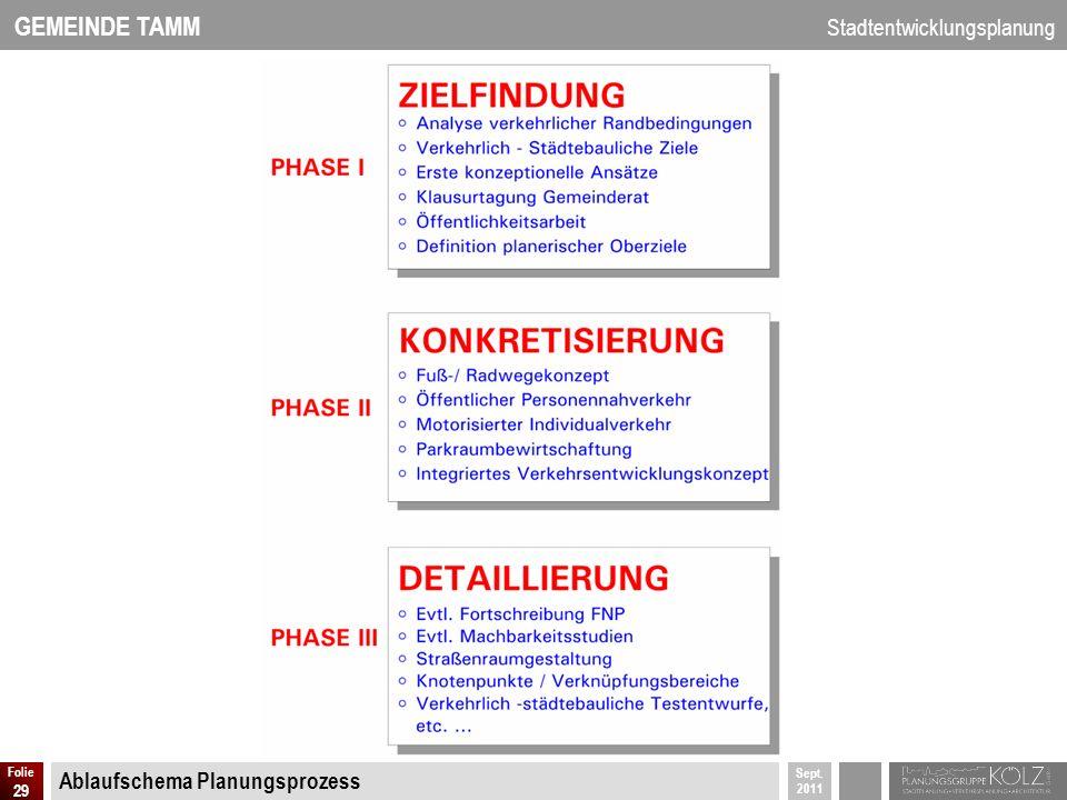 GEMEINDE TAMM Stadtentwicklungsplanung Sept. 2011 Folie 29 Ablaufschema Planungsprozess