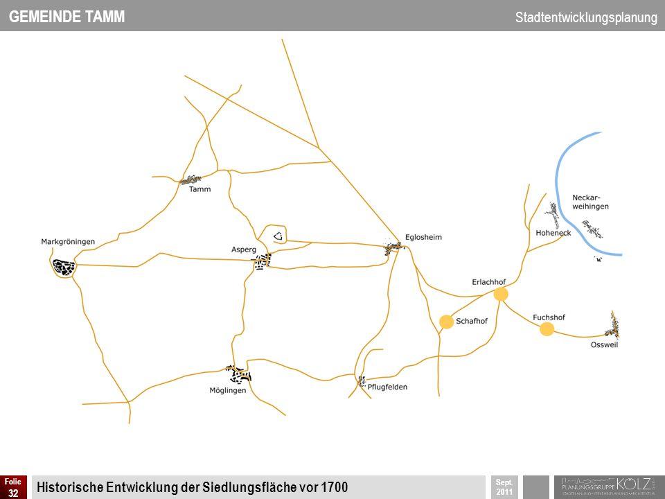 GEMEINDE TAMM Stadtentwicklungsplanung Sept. 2011 Folie 32 Historische Entwicklung der Siedlungsfläche vor 1700
