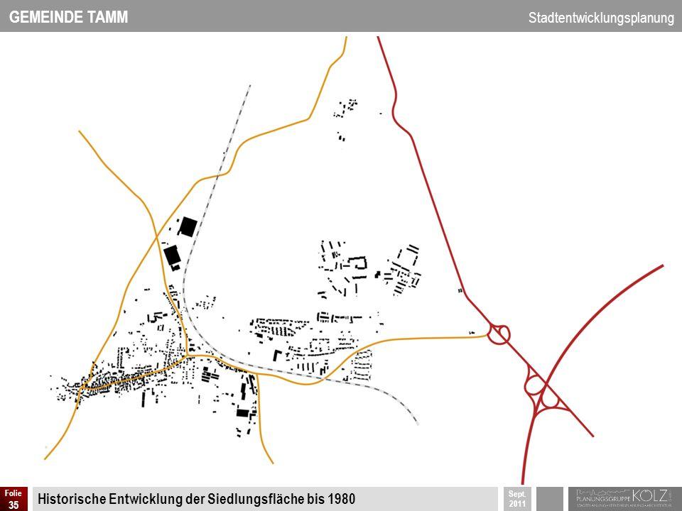 GEMEINDE TAMM Stadtentwicklungsplanung Sept. 2011 Folie 35 Historische Entwicklung der Siedlungsfläche bis 1980