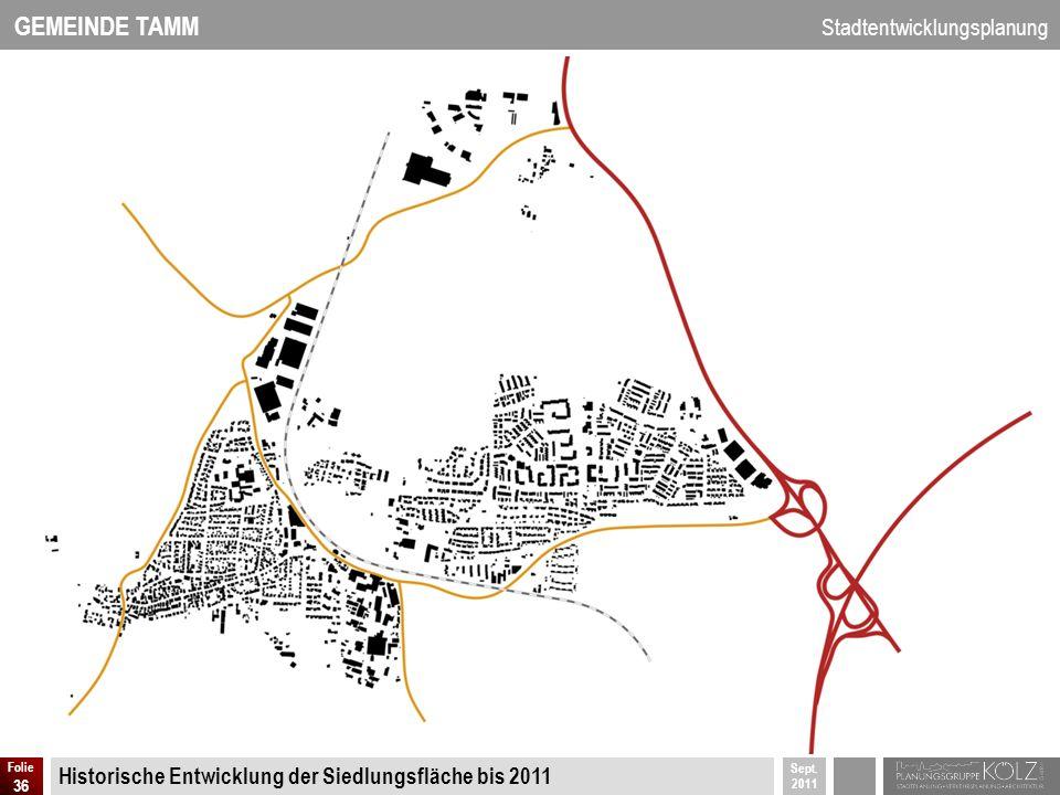 GEMEINDE TAMM Stadtentwicklungsplanung Sept. 2011 Folie 36 Historische Entwicklung der Siedlungsfläche bis 2011