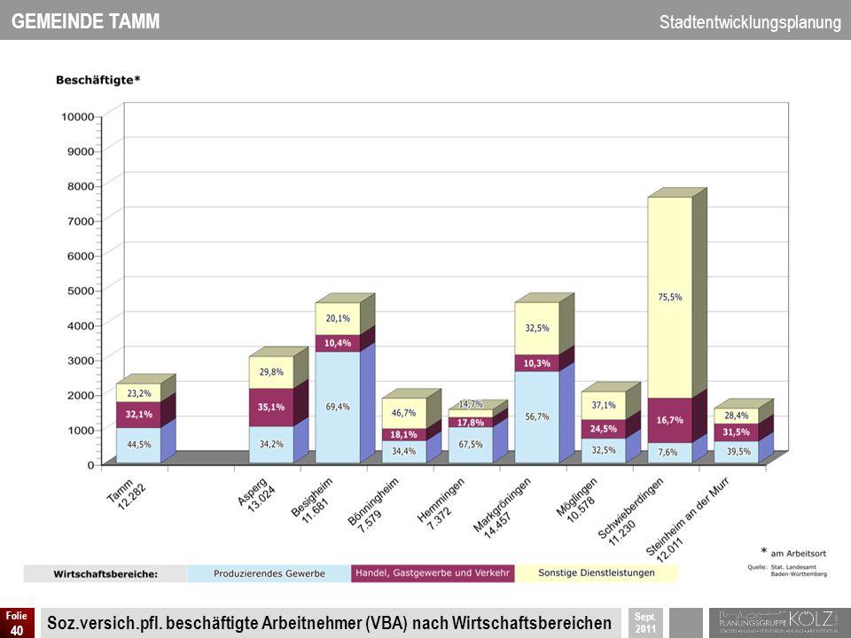 GEMEINDE TAMM Stadtentwicklungsplanung Sept. 2011 Folie 40 Soz.versich.pfl. beschäftigte Arbeitnehmer (VBA) nach Wirtschaftsbereichen