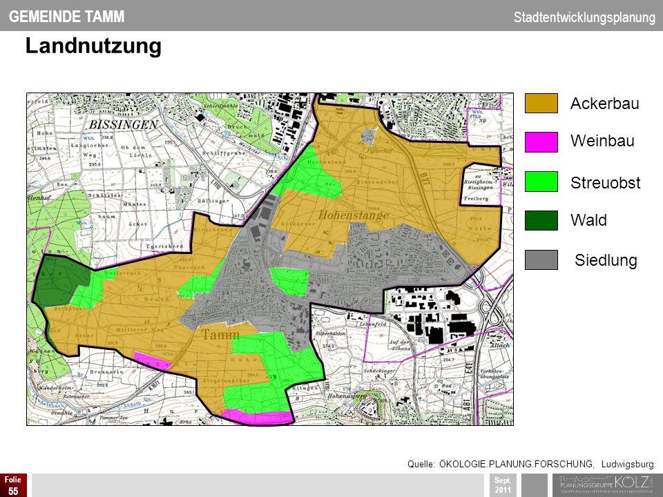 GEMEINDE TAMM Stadtentwicklungsplanung Sept. 2011 Folie 55 Ackerbau Weinbau Streuobst Wald Siedlung Landnutzung Quelle: ÖKOLOGIE.PLANUNG.FORSCHUNG, Lu