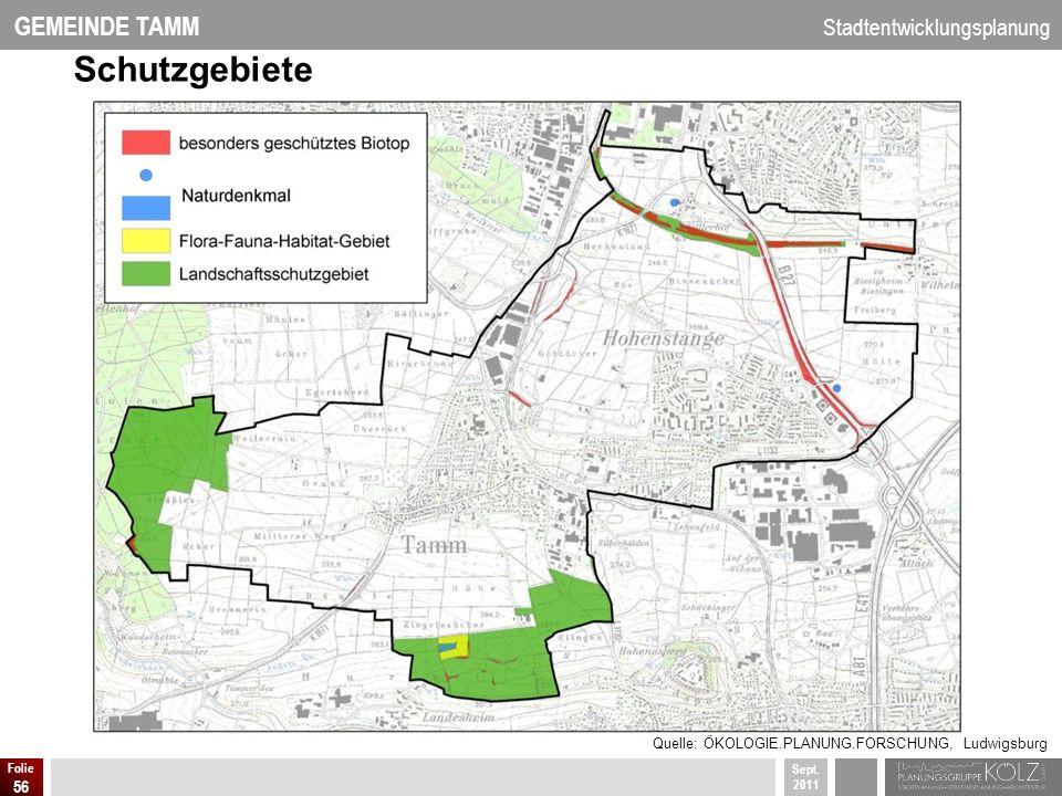 GEMEINDE TAMM Stadtentwicklungsplanung Sept. 2011 Folie 56 Schutzgebiete Quelle: ÖKOLOGIE.PLANUNG.FORSCHUNG, Ludwigsburg