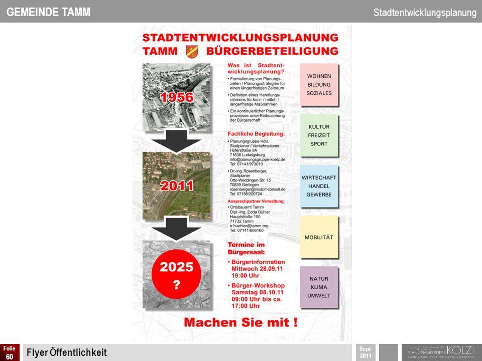 GEMEINDE TAMM Stadtentwicklungsplanung Sept. 2011 Folie 60 Flyer Öffentlichkeit