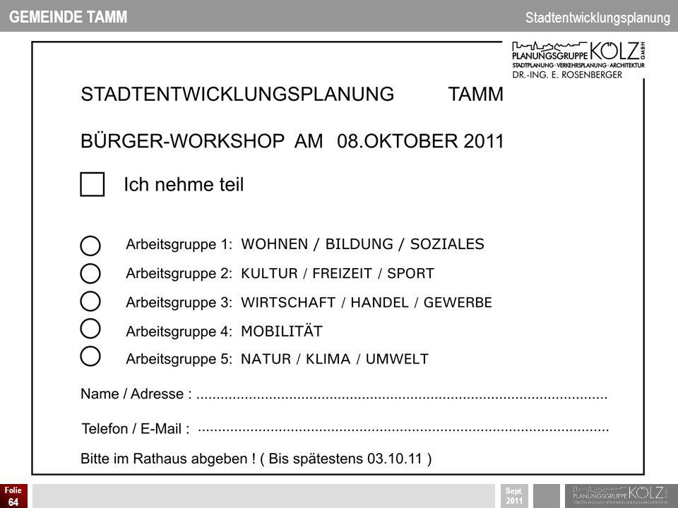 GEMEINDE TAMM Stadtentwicklungsplanung Sept. 2011 Folie 64