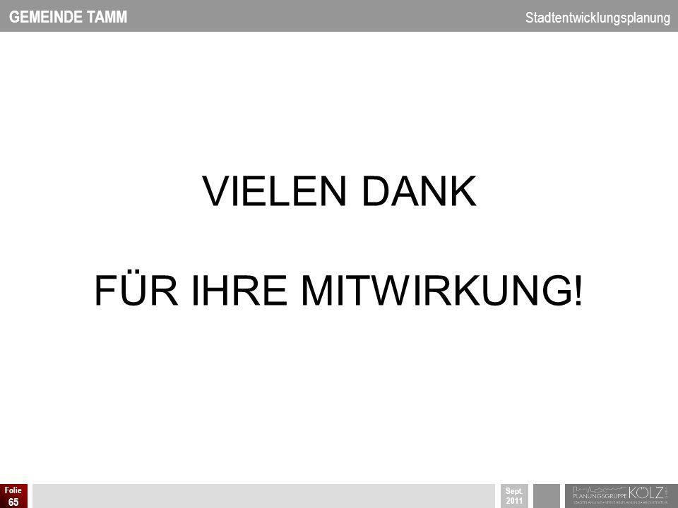 GEMEINDE TAMM Stadtentwicklungsplanung Sept. 2011 Folie 65 VIELEN DANK FÜR IHRE MITWIRKUNG!