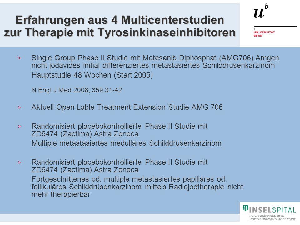 Erfahrungen aus 4 Multicenterstudien zur Therapie mit Tyrosinkinaseinhibitoren Single Group Phase II Studie mit Motesanib Diphosphat (AMG706) Amgen ni