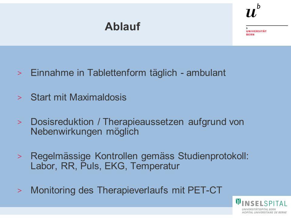 Ablauf Einnahme in Tablettenform täglich - ambulant Start mit Maximaldosis Dosisreduktion / Therapieaussetzen aufgrund von Nebenwirkungen möglich Rege