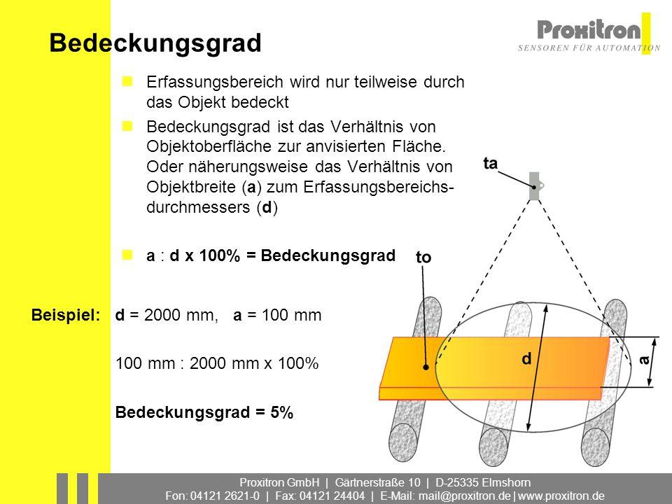 Proxitron GmbH | Gärtnerstraße 10 | D-25335 Elmshorn Fon: 04121 2621-0 | Fax: 04121 24404 | E-Mail: mail@proxitron.de | www.proxitron.de Bedeckungsgra