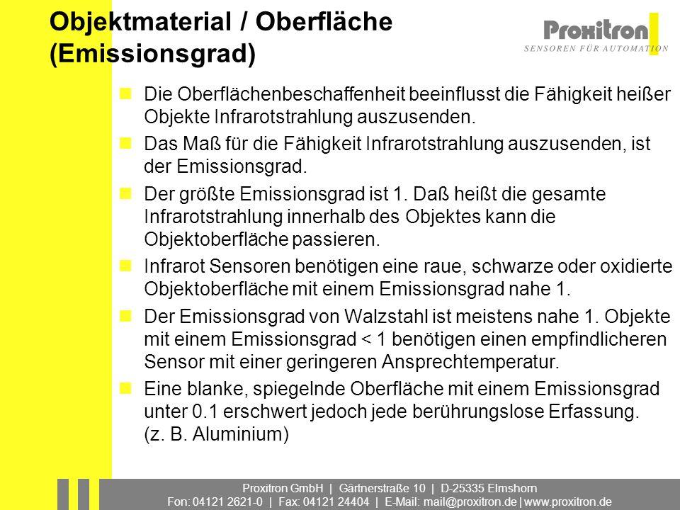 Proxitron GmbH | Gärtnerstraße 10 | D-25335 Elmshorn Fon: 04121 2621-0 | Fax: 04121 24404 | E-Mail: mail@proxitron.de | www.proxitron.de Objektmateria