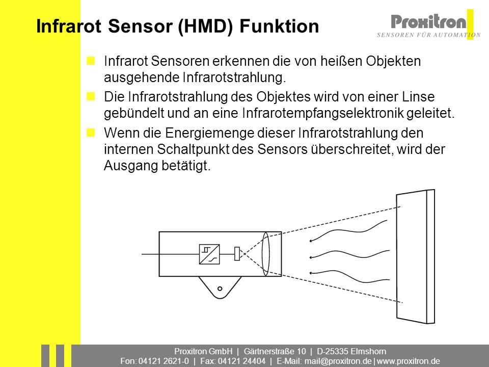 Proxitron GmbH | Gärtnerstraße 10 | D-25335 Elmshorn Fon: 04121 2621-0 | Fax: 04121 24404 | E-Mail: mail@proxitron.de | www.proxitron.de Infrarot Sensor, Erfassungsbereich Der Erfassungsbereich wird bestimmt vom Blickwinkel des Sensors und dem Abstand zum Objekt.