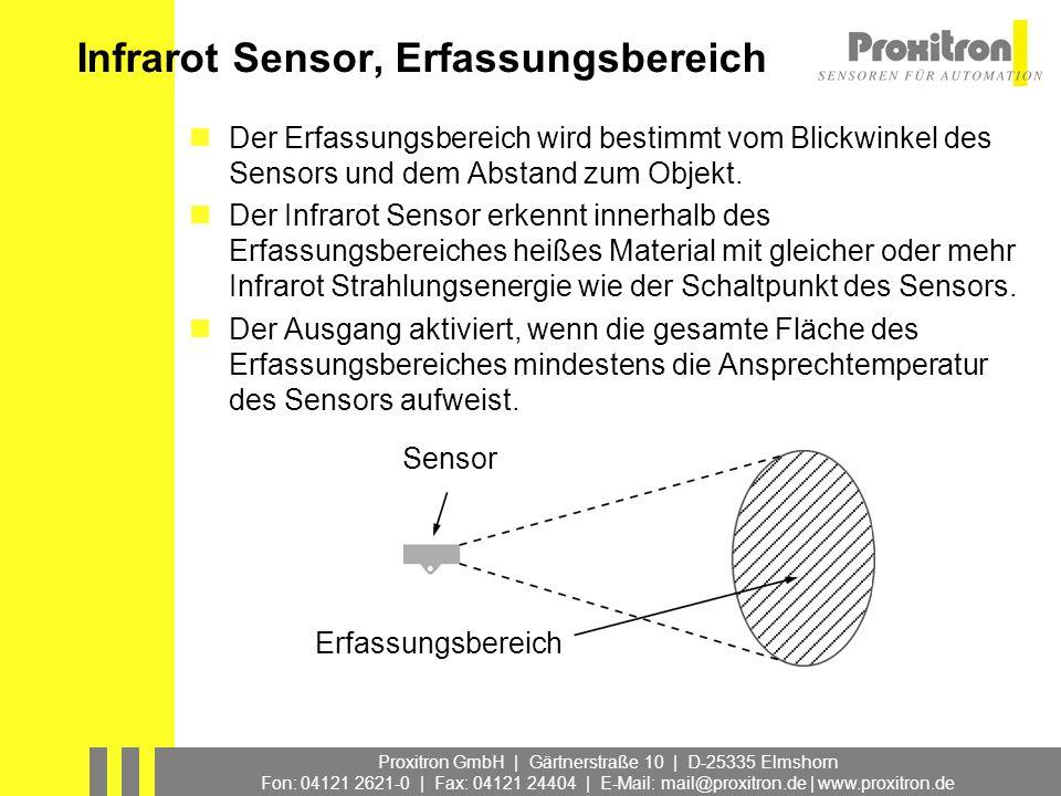 Proxitron GmbH | Gärtnerstraße 10 | D-25335 Elmshorn Fon: 04121 2621-0 | Fax: 04121 24404 | E-Mail: mail@proxitron.de | www.proxitron.de Sensordaten zur Typenauswahl Ansprechtemperatur [ta] Blickwinkel Erfassungsbereich [d] Max.