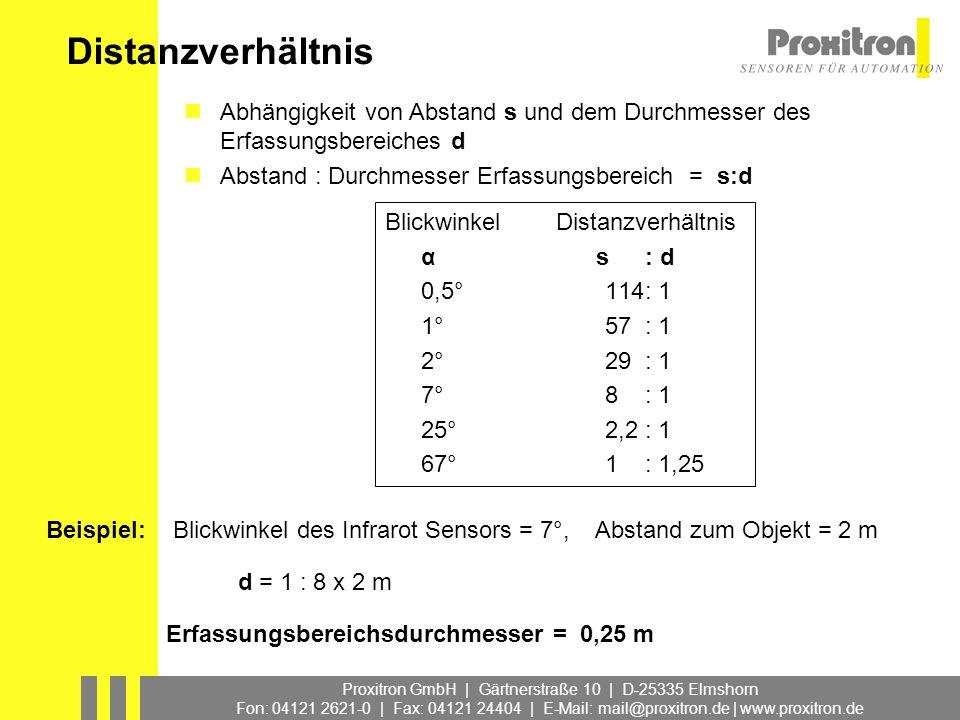 Proxitron GmbH | Gärtnerstraße 10 | D-25335 Elmshorn Fon: 04121 2621-0 | Fax: 04121 24404 | E-Mail: mail@proxitron.de | www.proxitron.de Ende PIROS Infrarot Sensoren (HMD)