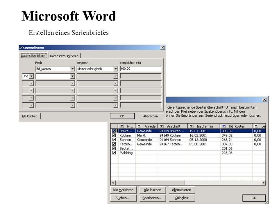 Microsoft Word Erstellen eines Serienbriefes