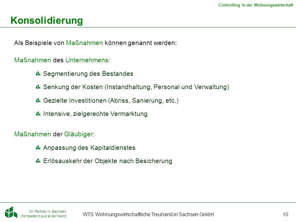 Ihr Partner in Sachsen Kompetenz aus einer Hand Controlling in der Wohnungswirtschaft WTS Wohnungswirtschaftliche Treuhand in Sachsen GmbH10 Konsolidi