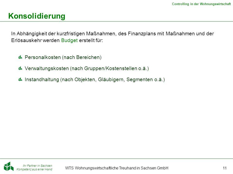 Ihr Partner in Sachsen Kompetenz aus einer Hand Controlling in der Wohnungswirtschaft WTS Wohnungswirtschaftliche Treuhand in Sachsen GmbH11 Konsolidi