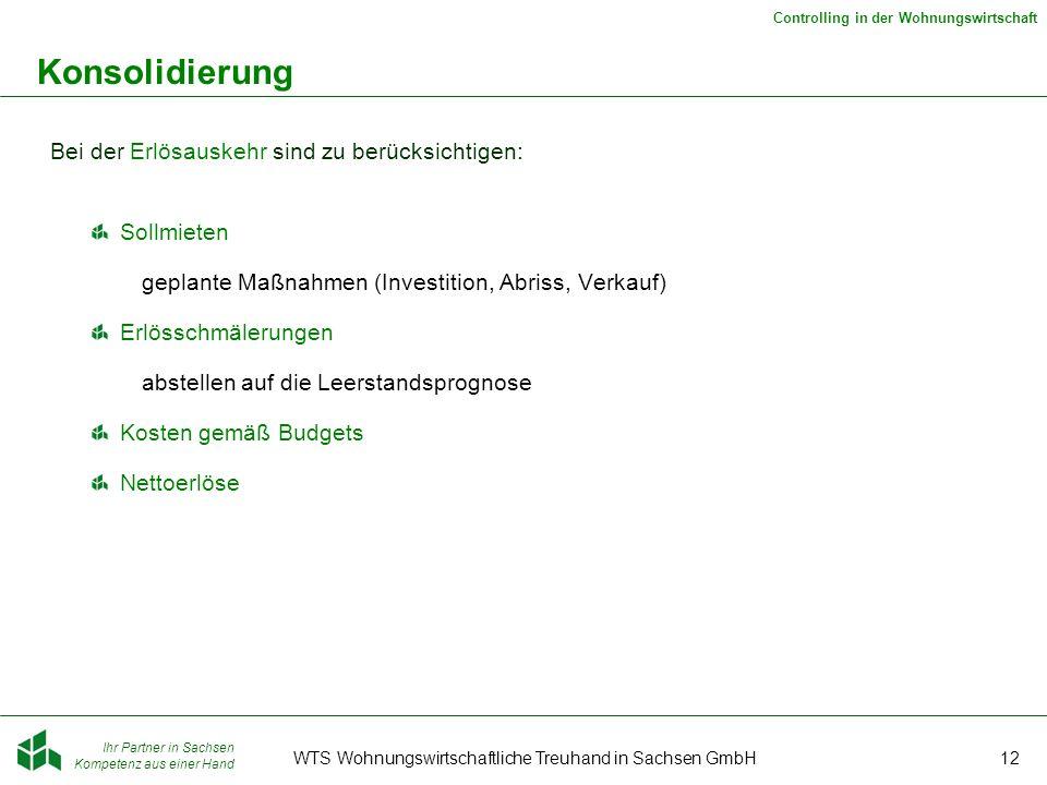Ihr Partner in Sachsen Kompetenz aus einer Hand Controlling in der Wohnungswirtschaft WTS Wohnungswirtschaftliche Treuhand in Sachsen GmbH12 Konsolidi