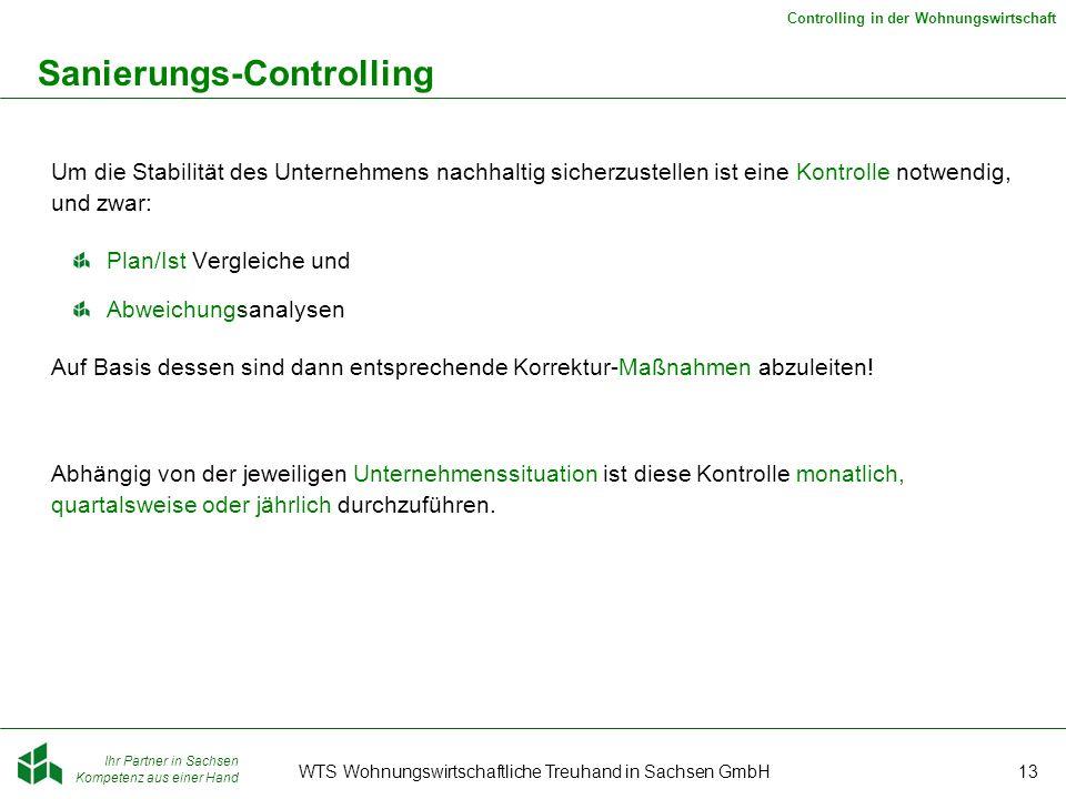 Ihr Partner in Sachsen Kompetenz aus einer Hand Controlling in der Wohnungswirtschaft WTS Wohnungswirtschaftliche Treuhand in Sachsen GmbH13 Sanierung