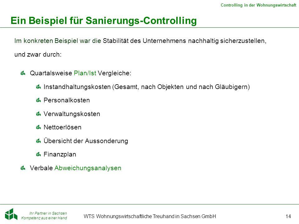 Ihr Partner in Sachsen Kompetenz aus einer Hand Controlling in der Wohnungswirtschaft WTS Wohnungswirtschaftliche Treuhand in Sachsen GmbH14 Ein Beisp