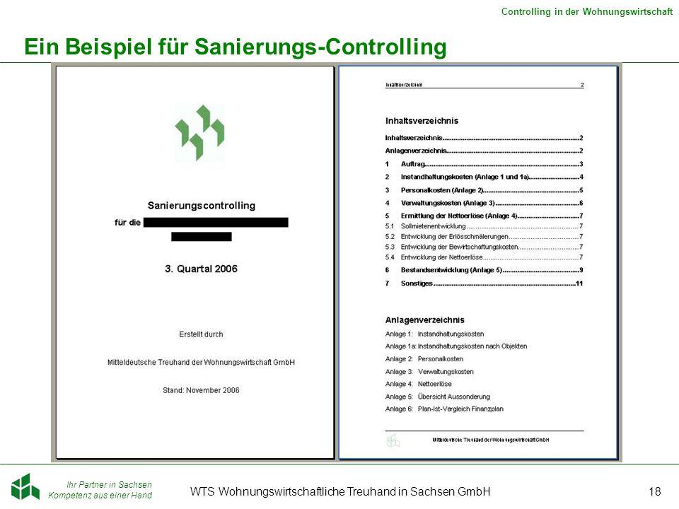 Ihr Partner in Sachsen Kompetenz aus einer Hand Controlling in der Wohnungswirtschaft WTS Wohnungswirtschaftliche Treuhand in Sachsen GmbH18 Ein Beisp