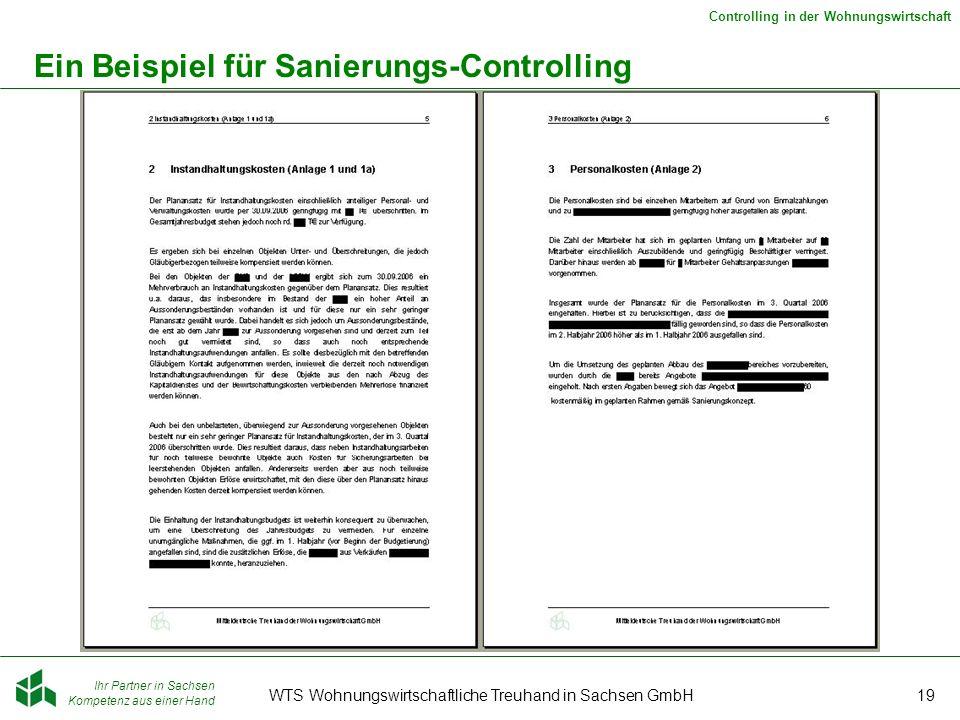 Ihr Partner in Sachsen Kompetenz aus einer Hand Controlling in der Wohnungswirtschaft WTS Wohnungswirtschaftliche Treuhand in Sachsen GmbH19 Ein Beispiel für Sanierungs-Controlling