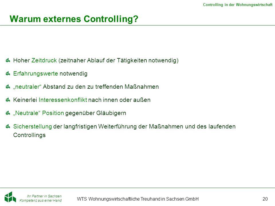 Ihr Partner in Sachsen Kompetenz aus einer Hand Controlling in der Wohnungswirtschaft WTS Wohnungswirtschaftliche Treuhand in Sachsen GmbH20 Warum externes Controlling.