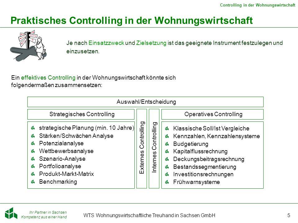 Ihr Partner in Sachsen Kompetenz aus einer Hand Controlling in der Wohnungswirtschaft WTS Wohnungswirtschaftliche Treuhand in Sachsen GmbH6 Ein Beispiel für operatives Controlling