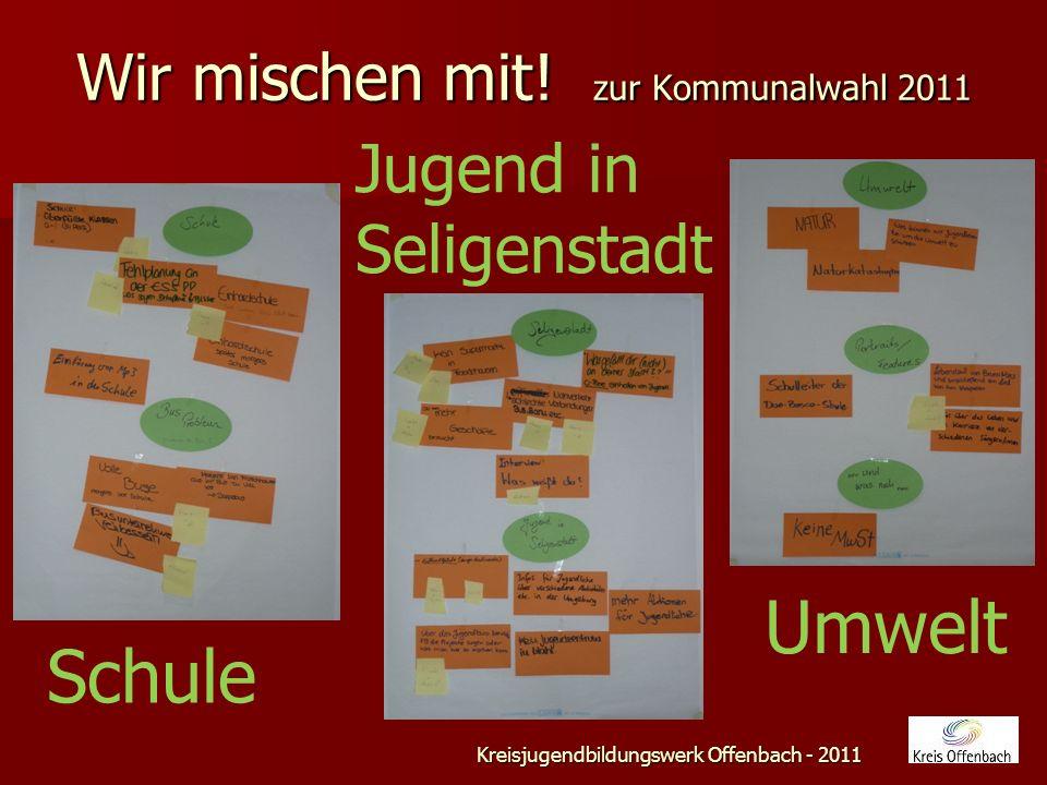 Wir mischen mit! zur Kommunalwahl 2011 Kreisjugendbildungswerk Offenbach - 2011 Teamarbeit