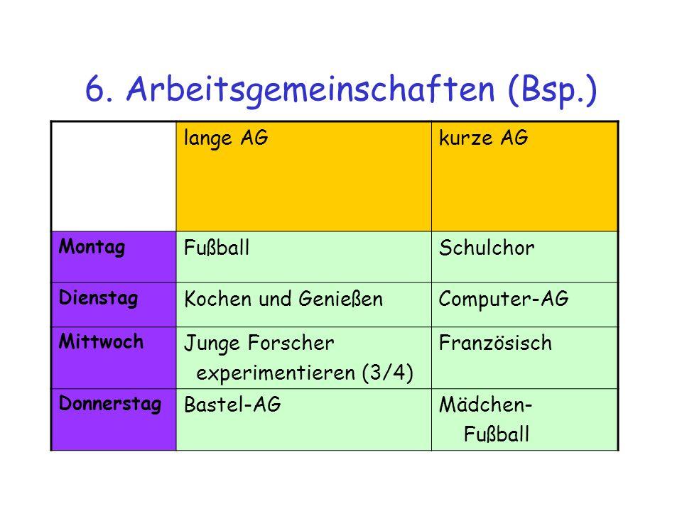 6. Arbeitsgemeinschaften (Bsp.) lange AGkurze AG Montag FußballSchulchor Dienstag Kochen und GenießenComputer-AG Mittwoch Junge Forscher experimentier