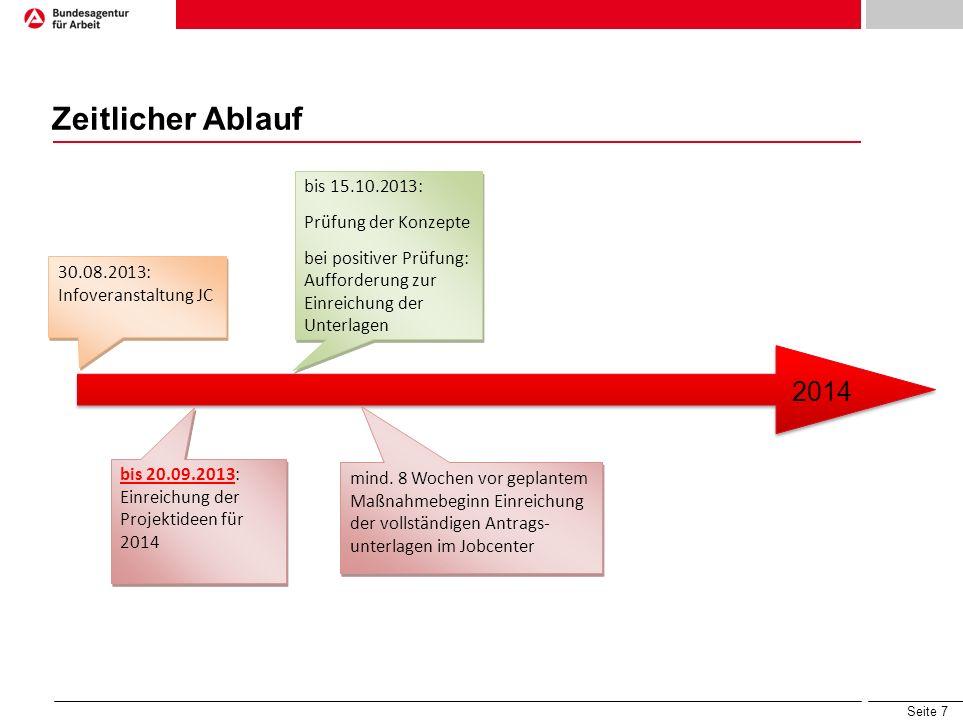 Seite 7 Zeitlicher Ablauf 2014 30.08.2013: Infoveranstaltung JC bis 20.09.2013: Einreichung der Projektideen für 2014 bis 15.10.2013: Prüfung der Konz