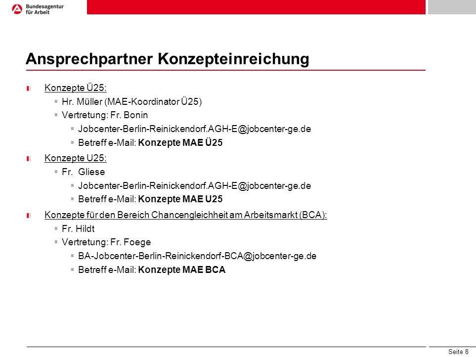 Seite 8 Ansprechpartner Konzepteinreichung Konzepte Ü25: Hr. Müller (MAE-Koordinator Ü25) Vertretung: Fr. Bonin Jobcenter-Berlin-Reinickendorf.AGH-E@j