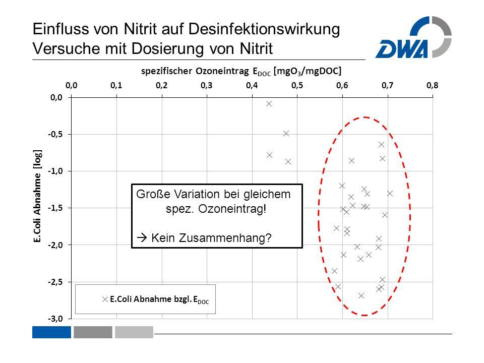 Einfluss von Nitrit auf Desinfektionswirkung Versuche mit Dosierung von Nitrit Große Variation bei gleichem spez. Ozoneintrag! Kein Zusammenhang?