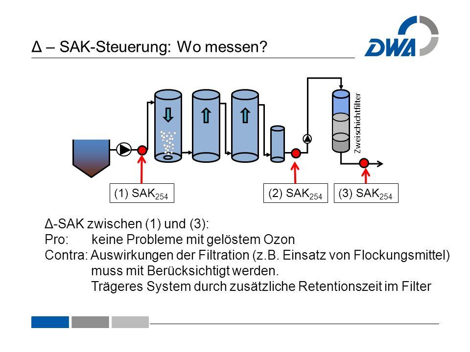 Δ – SAK-Steuerung: Wo messen? Zweischichtfilter (1) SAK 254 (2) SAK 254 (3) SAK 254 Δ-SAK zwischen (1) und (2): Pro: Schnelle Rückkopplung möglich Con