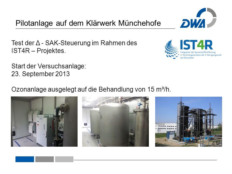 Pilotanlage auf dem Klärwerk Münchehofe Test der Δ - SAK-Steuerung im Rahmen des IST4R – Projektes. Start der Versuchsanlage: 23. September 2013 Ozona