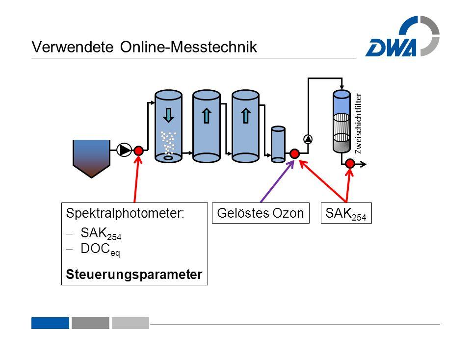 Verwendete Online-Messtechnik Zweischichtfilter Spektralphotometer: SAK 254 DOC eq Steuerungsparameter Gelöstes Ozon SAK 254