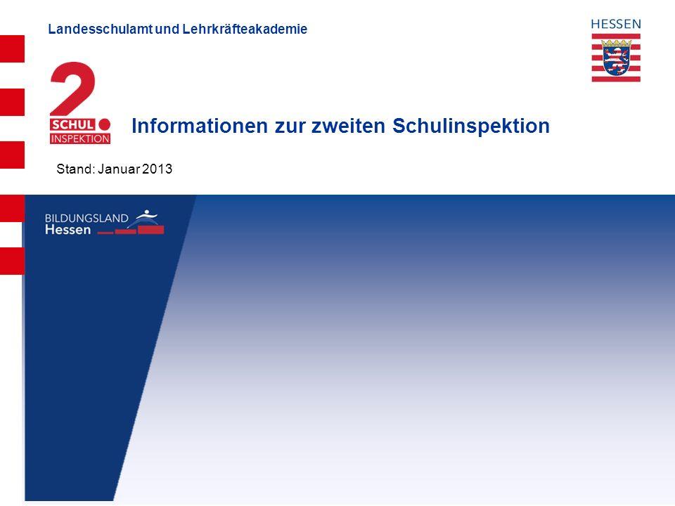 Landesschulamt und Lehrkräfteakademie Informationen zur zweiten Schulinspektion Stand: Januar 2013