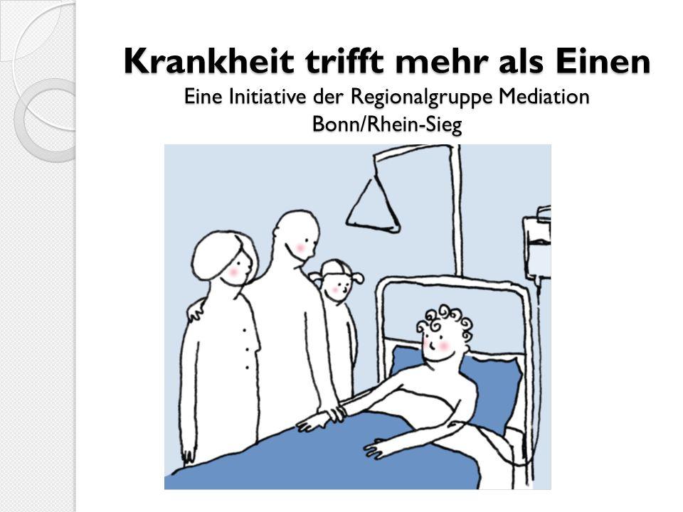 Ablauf und Kosten In der Regel 3 Sitzungen à 1,5 Stunden Kosten der Mediation im Rahmen des Programms Krankheit trifft mehr als Einen der Regionalgruppe Mediation Bonn/Rhein-Sieg von 60,- bis 90,- zzgl.