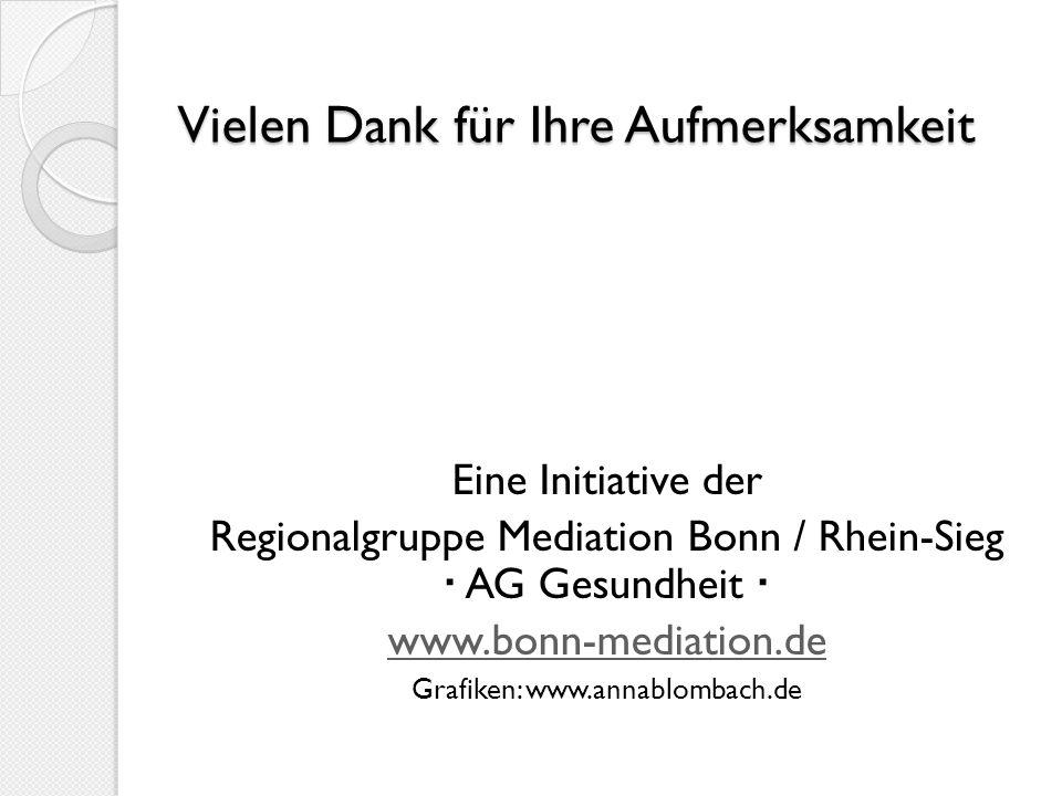 Vielen Dank für Ihre Aufmerksamkeit Eine Initiative der Regionalgruppe Mediation Bonn / Rhein-Sieg AG Gesundheit www.bonn-mediation.de Grafiken: www.a