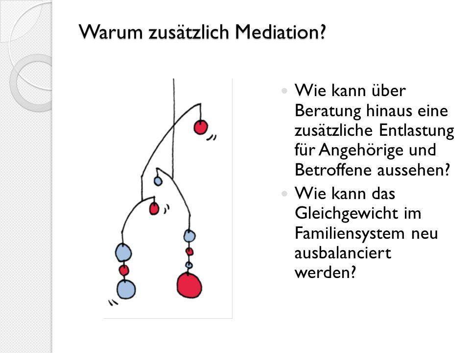 Warum zusätzlich Mediation? Wie kann über Beratung hinaus eine zusätzliche Entlastung für Angehörige und Betroffene aussehen? Wie kann das Gleichgewic