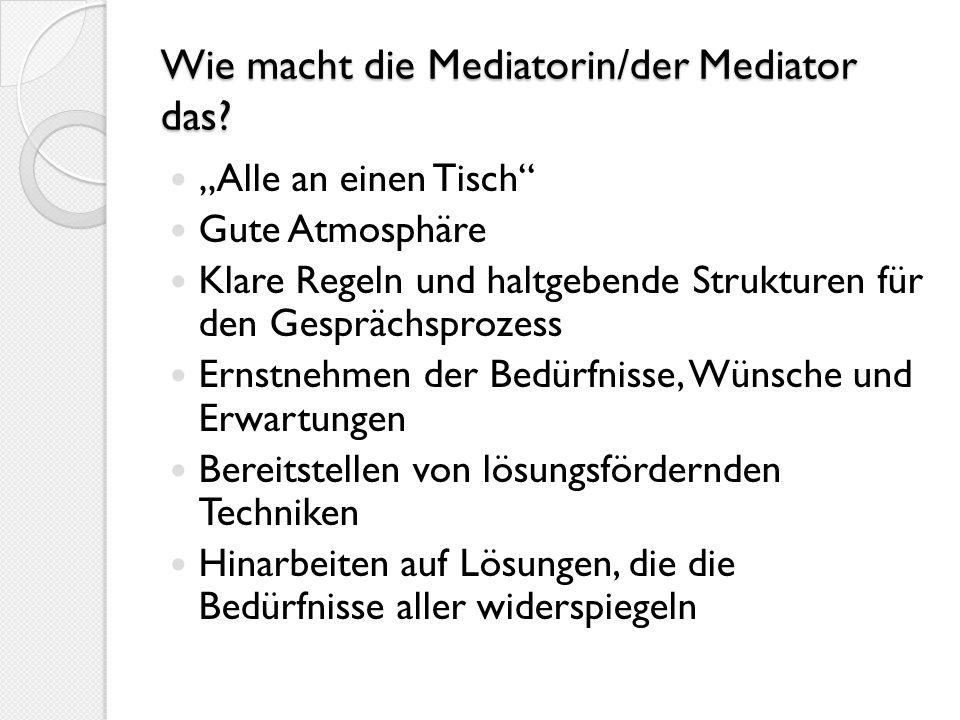 Wie macht die Mediatorin/der Mediator das? Alle an einen Tisch Gute Atmosphäre Klare Regeln und haltgebende Strukturen für den Gesprächsprozess Ernstn