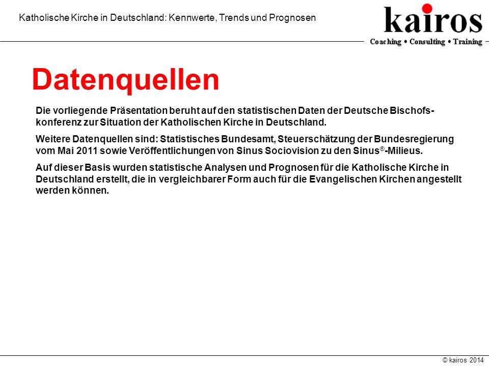 © kairos 2014 Katholische Kirche in Deutschland: Kennwerte, Trends und Prognosen Datenquellen Die vorliegende Präsentation beruht auf den statistische