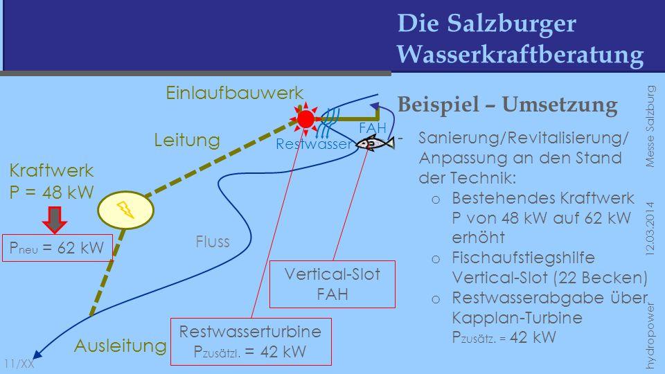 Die Salzburger Wasserkraftberatung 11/XX hydropower 12.03.2014 Messe Salzburg Fluss Einlaufbauwerk Leitung Kraftwerk P = 48 kW Ausleitung Restwasser F