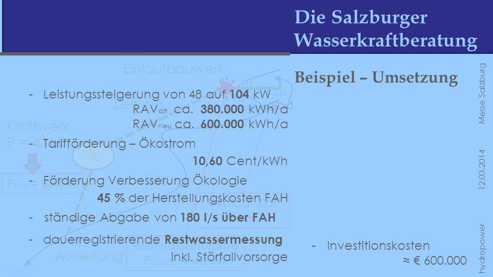 Die Salzburger Wasserkraftberatung 12/XX hydropower 12.03.2014 Messe Salzburg Fluss Einlaufbauwerk Leitung Kraftwerk P = 40 kW Ausleitung Restwasser F